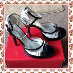 "Black & White Sandal Price Drop! Black patent Clear vinyl & White poker dot sandal.  Closed back side button closure. 41/2"" heel 1"" platform. Worn a few times.  A little smudge on the back see last picture. Frederick's of Hollywood Shoes"
