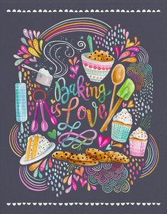 Baking IS Love PRINT baking art kitchen art cupcake art Love Canvas, Canvas Prints, Art Prints, Canvas Art, Baking Wallpaper, Baking Quotes, Cake Illustration, Chalkboard Lettering, Cupcake Art