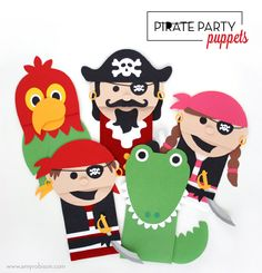 Cut files for paper sack pirate puppets. Perfect activity or kids craft at a pirate party. www.amyrobison.com