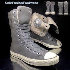 6e84a02d4f93 Converse womens All Star Leather Combat Boots Grey sz 8 X Hi Sneakers US 10  41.5