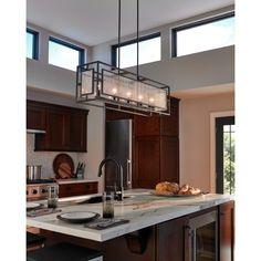 Suspendu de forme rectangle en métal couleur zinc, verre bullé, idéal pour ilot, cuisine ou salle à manger.