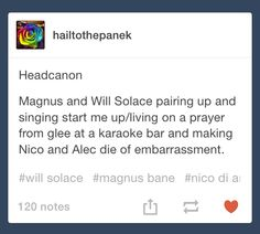 Malec and Solangelo.<<<<SOMEBODY DID THE THING I'M SO HAPPY I LOVE THIS MY TWO OTPPPPPsssss