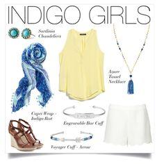 Our capri wrap/scarf in indigo ikat, our azure tassel necklace, engravable cuff and voyage cuff-arrow....www.stelladot.com/denisebranson