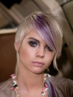 Short blonde hair with light purple in the bangs LOVE (google search)