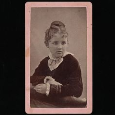 Antique Victorian CDV Photo, Pretty Girl, Fashionable Velvet and Lace Dress, Hair Comb... for sale by Anemone Antiques on Ruby Lane.