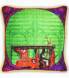 Buy Splash Of Green Poli Dupion Cushion Cover online shopping