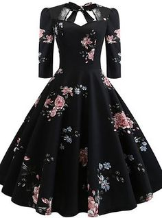 Floral Print Knot Dress - Outfits - Welcome Haar Design 50s Dresses, Elegant Dresses, Pretty Dresses, Homecoming Dresses, Vintage Dresses, Beautiful Dresses, Dresses For Work, Maxi Dresses, Summer Dresses