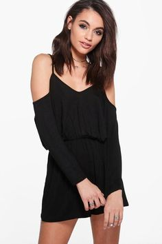 boohoo Hannah Jersey Cold Shoulder Strappy Playsuit