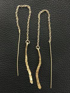 Boho chic gold threader earrings simple drop by PopandLocket