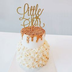 Little Star Cake Topper, Star Cake Topper, Star Themed Party, Baby Shower Cake Topper, Birthday Cake Topper, Star Topper by ThistleAndLaceShop on Etsy https://www.etsy.com/ca/listing/547356489/little-star-cake-topper-star-cake-topper