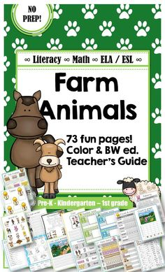 Farm Animals Vocabulary, Math and Literacy Package [ELA+ESL] [No Prep] This contains vocabulary, math and literacy tasks. In addition to this; fact based writing sheets, bingo and flash cards. Everything you need for some fun learning! It has been a great hit in my classroom, so just print and go! The package is ESL/ELA friendly; suitable for young ELA learners, and ESL learners of different ages. I have had success using these review materials with older students in an intervention…