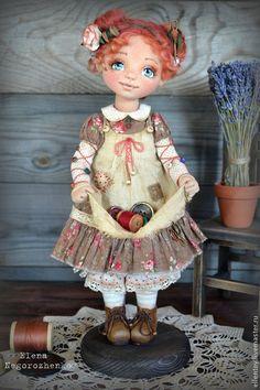 Коллекционные куклы ручной работы. Фея Пуговка, текстильная кукла. Елена Негороженко. Интернет-магазин Ярмарка Мастеров. Рыжий, кожа