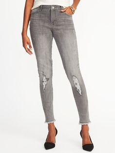 Mid-Rise Gray Rockstar Jeans for Women