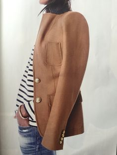 Fabulous! Camel blazer and stripes.