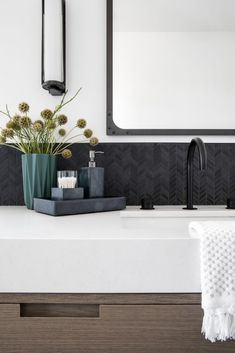 Seacliff Remodel - Lindye Galloway Interiors Beautiful Bathrooms, Modern Bathroom, Spanish Modern, Double Vanity, Interiors, Studio, Luxury, Funky Bathroom, Decoration Home