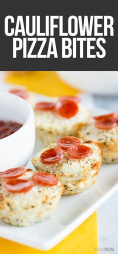 Cauliflower Pizza Bites: Get all the good flavor of pizza without the fat and calories! This low-calorie, low-fat recipes uses riced cauliflower, ricotta cheese, oregano, basil, Parmesan cheese and other yummy ingredients for a skinny pizza bites recipe everyone will love.