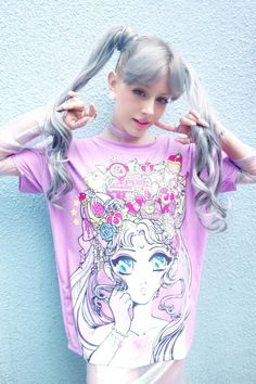 Ladies Oversized Tee by Miss Kika x Japan LA Clothing  Moonlight Power, make-up into this super magical boxy top ft. Sailor Moon inspired artwork. Over-sized, boxy style tee with original artwork from artist Miss Kika.   -Intentional, over-sized fit -Super vibrant graphic on front  -Back is...