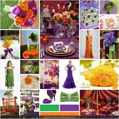 Orange, purple, and green! love the combo for early fall! For Carissa!