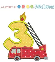 Fire truck Birthday applique design set.