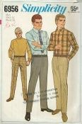 "An original ca. 1967 Simplicity Pattern 6956.  Men's Shirt and Hipster Slacks: Shirt wit optional button-down collar has back pleats, yoke with forward shoulder seams, buttoned pockets, front button closing, top-stitching trim and long sleeves pleated to buttoned cuffs. Slacks made to be worn 2"" below normal waistline have side and back pockets, top-stitching trim, belt carriers and waistband."