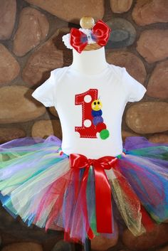 Baby Einstein BirthdayTutu and 1st or 2nd Birthday Shirt with Embroidered Caterpillar and Matching Bow. $42.00, via Etsy.