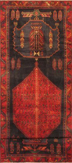 "Item 3184 : Hand-Knotted Zanjan Red Wool Rug 4'6"" X 13'3"" | ecarpetgallery"
