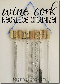 DIY Upcycle Wine Cork Jewelry Necklace Organizer by trishsutton.com