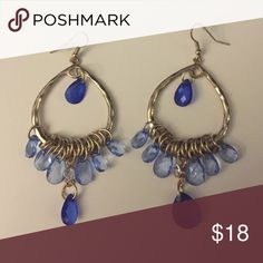 ***NWOT*** blue and gold chandelier earrings These beautifully versatile earrings can be an amazing addition to your jewelry collection! Jewelry Earrings
