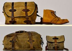 Filson bags and Red Wing The Sporting Life, Best Handbags, Well Dressed Men, Gentleman Style, Stylish Men, Fashion Accessories, Red Wing, Mens Fashion, My Style