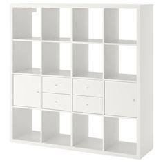 KALLAX Shelf unit with 4 inserts, high-gloss/white, cm. Find it here - IKEA Etagere Kallax Ikea, Ikea Kallax Shelf Unit, Hemnes Bookcase, Ikea Regal, Ikea Kallax Regal, Feng Shui, Kallax Insert, Painted Drawers, Ikea Drawers
