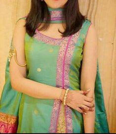 RadhikAnurag ❤️ Reuse Ur old sarees Salwar Suit Neck Designs, Silk Kurti Designs, Kurta Neck Design, Salwar Designs, Dress Neck Designs, Kurta Designs Women, Fancy Blouse Designs, Kurti Designs Party Wear, Lehenga Designs
