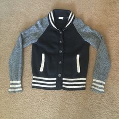 Madewell varsity sweater jacket Black, gray and cream varsity sweater jacket size M Madewell Sweaters Cardigans