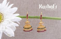 from Design No 50063 Gold Jhumka Earrings, Jewelry Design Earrings, Gold Earrings Designs, Antique Earrings, Gold Earrings For Kids, Gold Jewelry Simple, Gold Bangles Design, Gold Jewellery Design, Gold Mangalsutra Designs