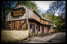 Old wooden building at an Abandoned Theme Park in the UK (camelot)