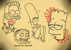 Line-work for a Simpsons tattoo flash sheet. I like Simpsons, I think people forget how groundbreaking and brilliant it is (or was).www.facebook.com/dreamsandmonsterswww.philwallart.comIf you like my stuff and want to see more please follow, like, share…you can also like me on facebook to keep up-to-date. Cheers