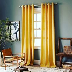 Yellow curtains, gray walls - Linen Cotton Grommet Window Panel - Desert Marigold love love love this look! Curtains For Grey Walls, Curtains Living, Colorful Curtains, Gold Curtains, Blinds Curtains, Bedroom Curtains, Kitchen Curtains, White Wall Art, White Walls