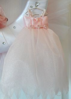 Custom made miniature ballet dress with satin bodice and pearl accents......Pink and White Dance Wreath $99.00