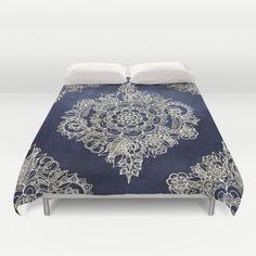 Cream Floral Moroccan Pattern on Deep Indigo Ink Duvet cover
