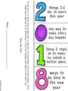 2018 New Year Resolutions Foldable, Bookmarks, and Reflection sheet - great for goal setting after winter break. Nice way to ease back into school work and promote a growth mindset. Makes a wonderful bulletin board display.
