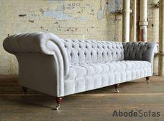 Modern British handmade Naples deep buttoned #Chesterfield #Sofa, shown in Silver Grey velvet. 4 seater | Abode Sofas