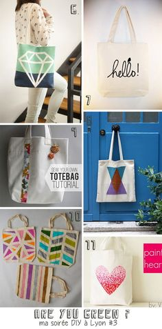 Collection de DIY pour tote bags 1. des pois fluo  2. des oiseaux 3. Ikat  4. Pommes  5. Lettres 6. diamant 7....