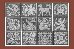 Iva Rose Vintage Reproductions - 1915 Small Square Insertions in Filet Lace - Twenty Four Designs