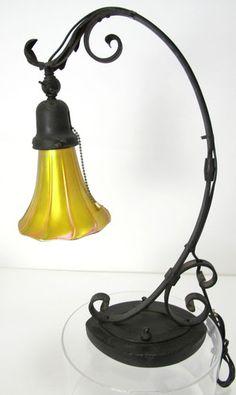 Antique Wrought Iron Art Nouveau Desk Lamp Quezal Aurene Petal Flower Shade Yqz | eBay