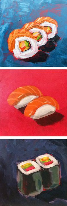 "Set of three original paintings on 3/4"" cradled panel by Gina Julian. Colorful sushi rolls and nigiri on blue, red and dark purple backgrounds. Signed and dated by the artist on the back. Unframed. Ea"