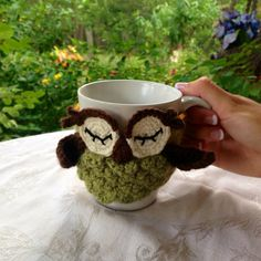 Owl Coffee Cozy Green  Other colors available by BellusThreads