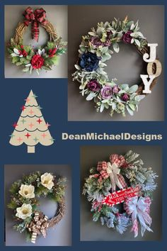 Gift ideas from DeanMichaelDesigns. Holiday wreath for front door. Christmas wreath. Front door décor. Decorate for the holidays. Gifts for her. Gifts for mom.