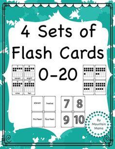 Math:  4 different Sets of 0-20 Flash Cards 1. Number Cards  2. Word Cards  3. Tens Frame Cards  4.  Number, Word, and Tens Frame Cards
