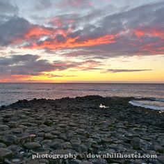 Sunset at the Giant's Causeway County Antrim Northern Ireland by downhillhostel.com http://www.downhillhostel.com/wp-content/uploads/2012/07/giants_causeway_hostel_sunset_photography_12-copy.jpg