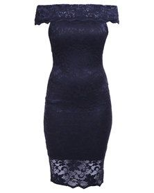 London Hub Fashion Lace Bandeau Midi Bodycon Dress Navy