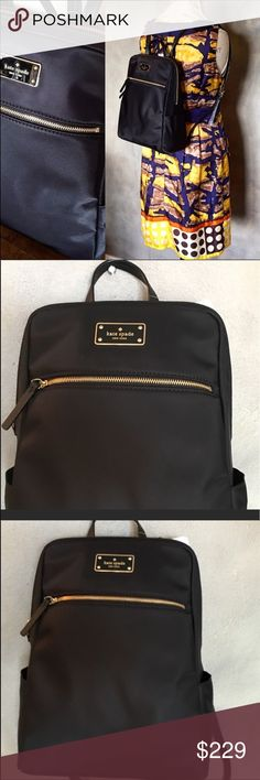 Kate Spade black backpack A slick minimalistic designed authentic Kate Spade. This timeless black backpack made to match your everyday needs. Effortlessly convert from day to night. Goes with every color. Easy to carry while leaving you hands free. Wrap around zip closure; Gold-toned hardware; Small handle.  Nylon with zip pocket and kate Spade name plate on front; Slip pocket on each side Interior has open compartment with 1 zip pocket and 1 slip pockets with Kate Spade signature 9 in L x…